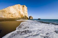 Spiaggia dorata del Aphrodite Fotografia Stock Libera da Diritti