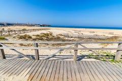 Spiaggia dorata dell'oceano Pacifico, Tarifa, Spagna Fotografie Stock