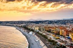 Spiaggia dorata di Nizza, Francia Fotografia Stock