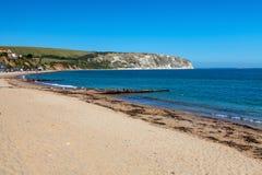Spiaggia Dorset Inghilterra Regno Unito di Swanage fotografia stock libera da diritti