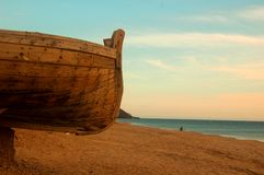 Spiaggia e barca Fotografia Stock