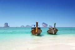 Spiaggia e barche, mare delle Andamane Fotografie Stock