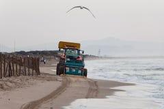 Spiaggia e gabbiano di pulizia del trattore fotografie stock