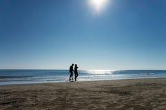 Spiaggia e mare con la gente   immagine stock libera da diritti