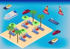 Spiaggia e mare isometrici con trasporto delle poltrone, dell'ombrello e dell'acqua illustrazione di stock