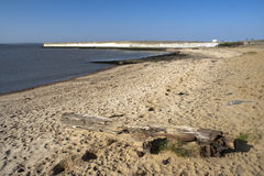 Spiaggia e parete di mare sul Canvey Island, Essex, Inghilterra Fotografia Stock