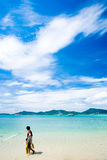 Spiaggia e pescatore Fotografia Stock