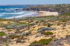 Spiaggia e vegetazione in Almograve Fotografia Stock Libera da Diritti