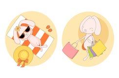 Spiaggia ed acquisto degli autoadesivi del coniglietto royalty illustrazione gratis