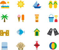Spiaggia ed insieme dell'icona di estate Fotografie Stock