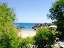 Spiaggia ed oceano Paesaggio caldo della linea costiera di estate Fotografia Stock Libera da Diritti