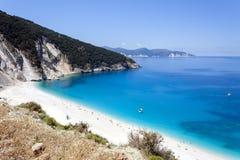 Spiaggia esotica Myrtos Kefalonia, Grecia Immagine Stock