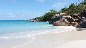 Spiaggia famosa di Anse Lazio su Praslin Seychelles Fotografia Stock Libera da Diritti