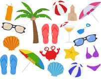 Spiaggia, festa, vacanza, clipart del fumetto di estate Fotografia Stock Libera da Diritti