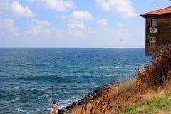 Spiaggia, gabbiano, barca a vela Immagini Stock Libere da Diritti