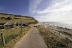 Spiaggia giurassica della bocca del branscombe del litorale dell'Inghilterra Devon immagine stock