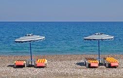 Spiaggia greca dell'assicella Fotografia Stock Libera da Diritti