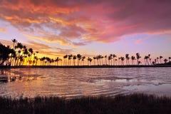 Spiaggia hawaiana di tramonto Fotografia Stock Libera da Diritti