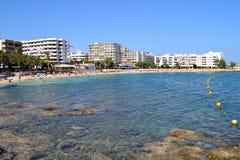 Spiaggia Ibiza, Spagna del DES Riu della Santa Eularia Immagini Stock Libere da Diritti