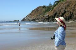 Spiaggia indiana, litorale dell'Oregon della sosta di condizione di Ecola. Fotografia Stock