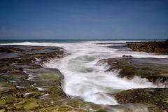 Spiaggia Indonesia di Bayah Banten Sawarna della spiaggia di Bokor Fotografie Stock