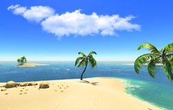 Spiaggia, isola e palme Immagini Stock