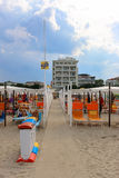 Spiaggia 56, Italy, Riccione. Footpath from the sea to hotels on the beach 56 in Riccione coast Stock Image