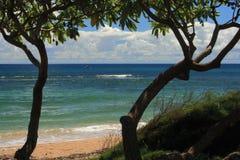 Spiaggia Kahuai di Poipu Fotografia Stock