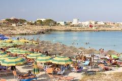 Spiaggia a Lampedusa, Italia Fotografia Stock Libera da Diritti