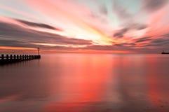 Spiaggia lunga di Aberdeen di esposizione di alba, Scozia Fotografie Stock Libere da Diritti