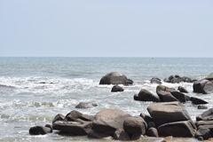 Spiaggia lunga di Hai, città di Ria di sedere, Vietnam immagine stock libera da diritti