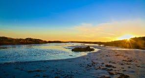 Spiaggia Maine di Higgins di tramonto Fotografie Stock Libere da Diritti