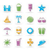 Spiaggia, mare ed icone di festa Immagini Stock