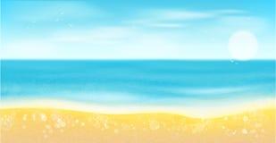 Spiaggia, mare, sabbia e sole Fondo di estate Fotografia Stock Libera da Diritti
