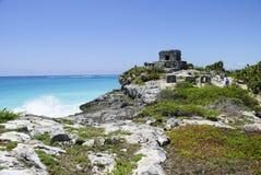 Spiaggia maya antica di rovine Fotografia Stock Libera da Diritti