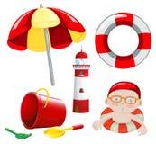 Spiaggia messa nel tono rosso Fotografie Stock