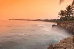 Spiaggia naturale di tramonto Immagini Stock Libere da Diritti