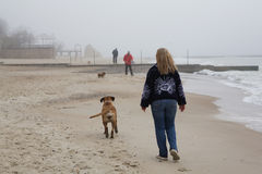 Spiaggia in nebbia Fotografia Stock
