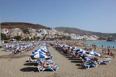 Spiaggia nel Los Cristianos, Tenerife Fotografia Stock