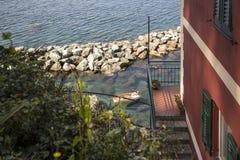 Spiaggia nel paese Italia della Liguria Fotografie Stock Libere da Diritti