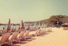Spiaggia nel tono d'annata Immagine Stock Libera da Diritti