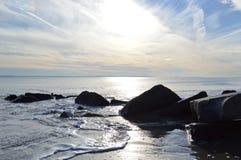Spiaggia nel tramonto Immagine Stock Libera da Diritti