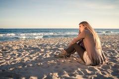 Spiaggia nell'inverno Immagini Stock Libere da Diritti