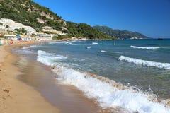 Spiaggia nell'isola di Corfù fotografia stock libera da diritti