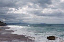 Spiaggia nella costa di Biarritz Fotografia Stock Libera da Diritti