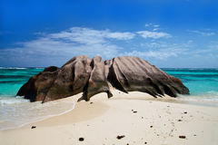 Spiaggia nella sorgente di Anse d'Argent Fotografia Stock Libera da Diritti