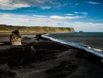 Spiaggia nera Fotografia Stock Libera da Diritti