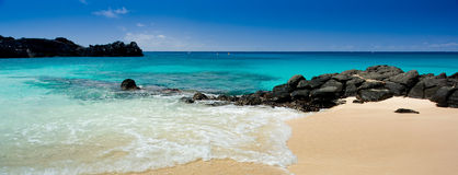 Spiaggia nera della roccia Fotografia Stock