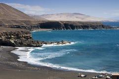 Spiaggia nera in Fuertaventura Fotografia Stock Libera da Diritti