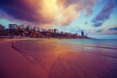 Spiaggia a Netanya Fotografia Stock Libera da Diritti